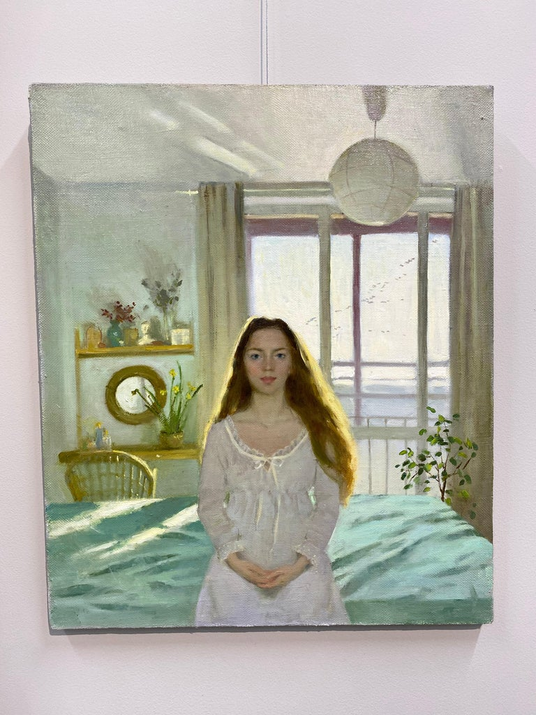 Goodmorning! - 21st Century figurative Interior Painting of a Girl in her Room For Sale 1