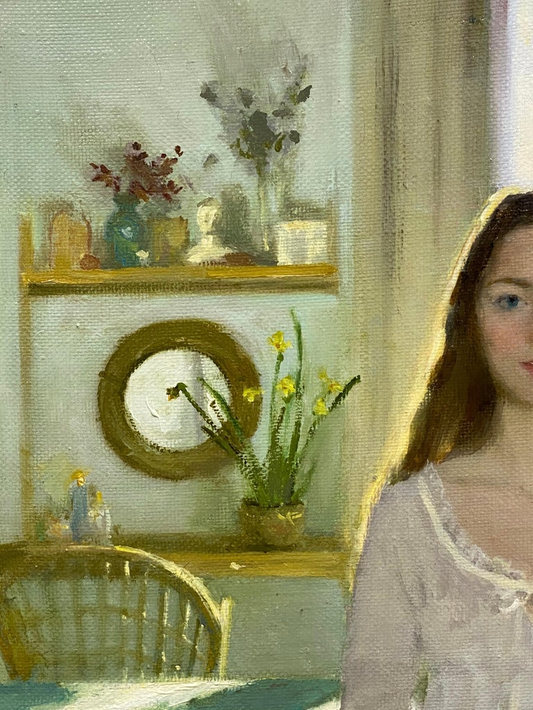 Goodmorning! - 21st Century figurative Interior Painting of a Girl in her Room For Sale 3