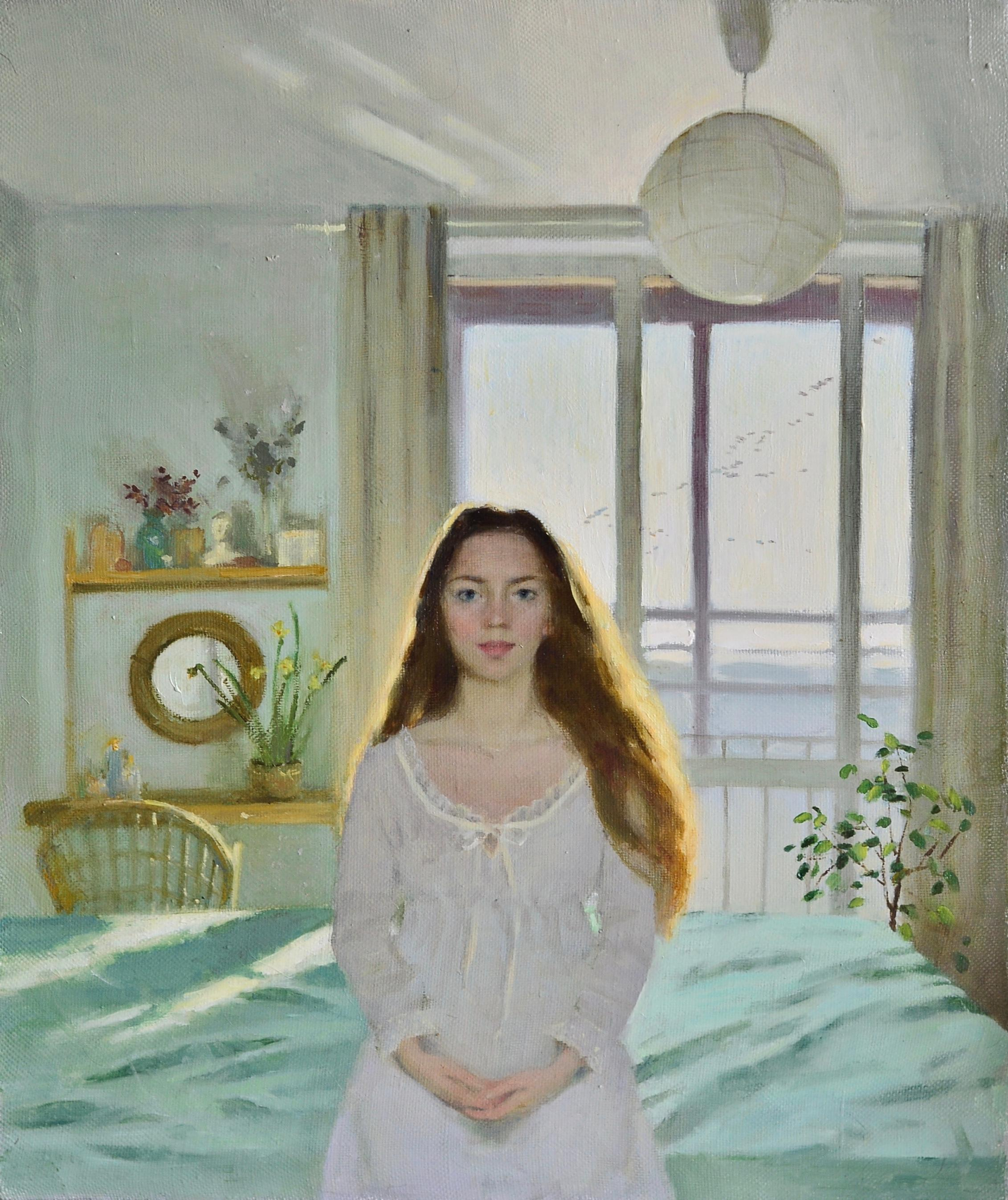 Goodmorning! - 21st Century figurative Interior Painting of a Girl in her Room