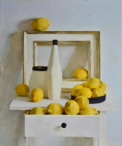 Lemons- 21st Century Contemporary Russian Still-life Painting in yellow & whites