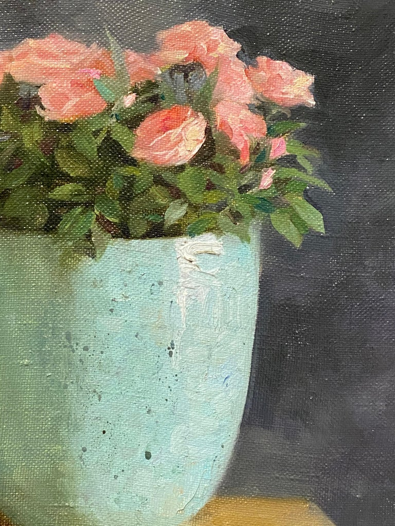 Roses-21st Century Still-life Painting of a Blue Bowl with Pink Roses For Sale 1