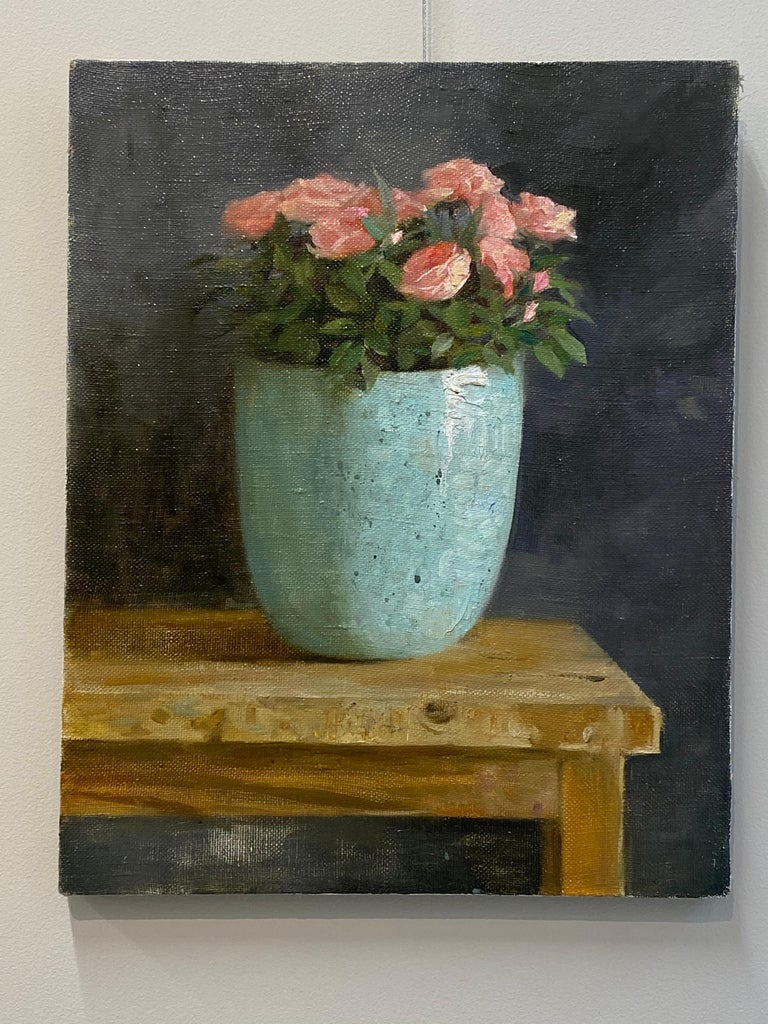Roses-21st Century Still-life Painting of a Blue Bowl with Pink Roses For Sale 2