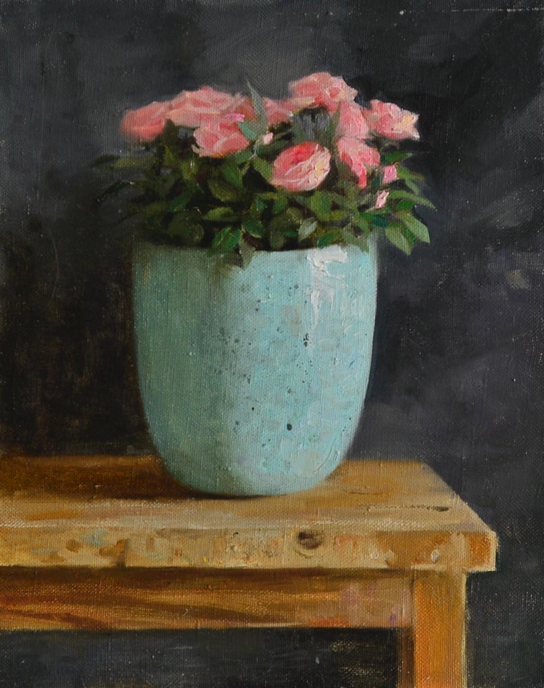Ksenya Istomina Figurative Painting - Roses-21st Century Still-life Painting of a Blue Bowl with Pink Roses