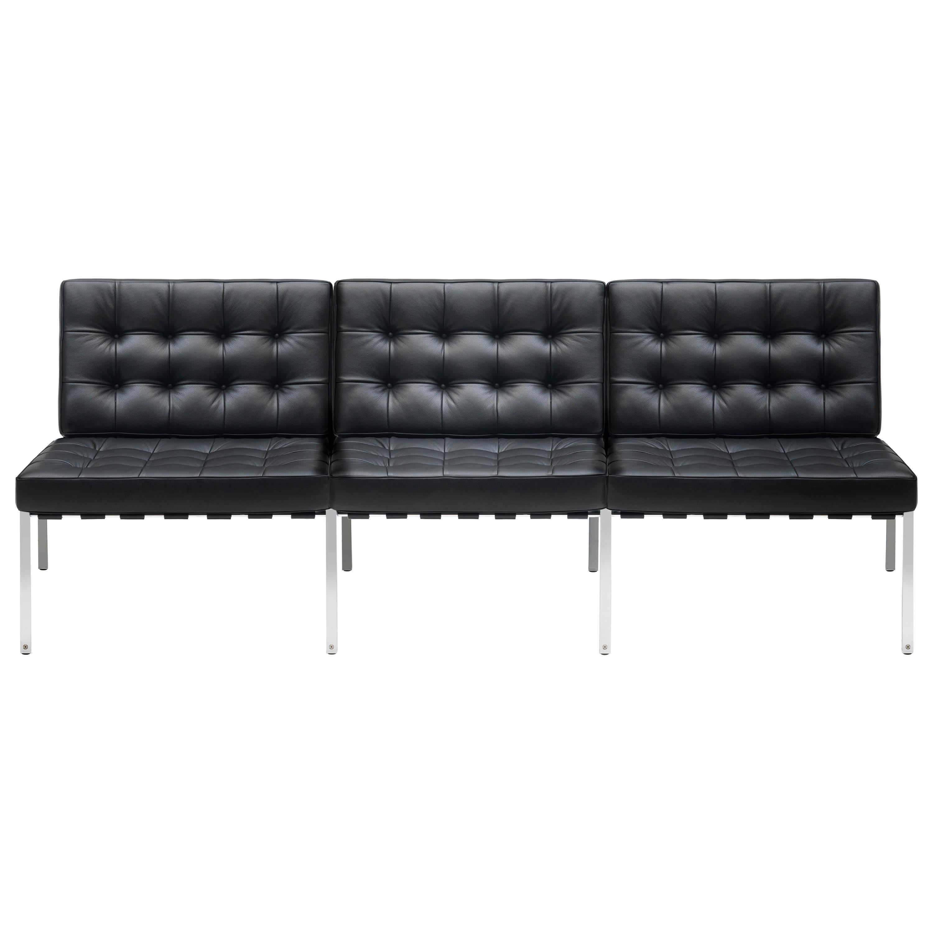 KT-221 Bauhaus Three-Seat Sofa in Tufted Natural Leather and Metal by De Sede