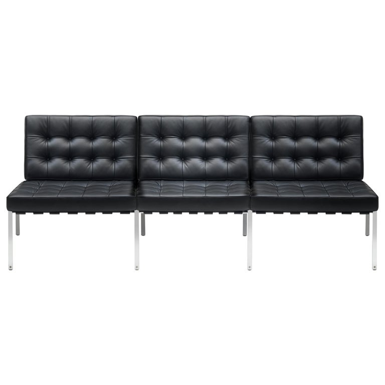 For Sale: Black KT-221 Bauhaus Three-Seat Sofa in Tufted Natural Leather and Metal by De Sede