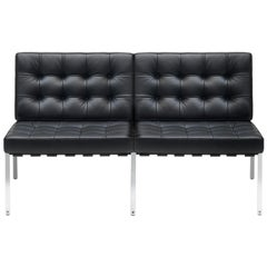 KT-221 Bauhaus Two-Seat Sofa in Tufted Natural Leather and Metal by De Sede