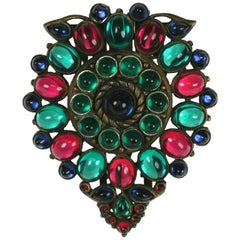 KTF Jewels of India Bronze Cabochon Shield Dress Clip