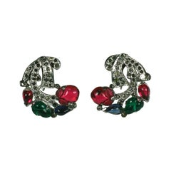 KTF Trifari Art Deco Fruit Salad Earrings