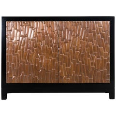 Kuai Design Cabinet on Stand, Copper by Robert Kuo, Hand Repousse, Limited