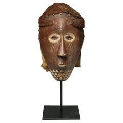 Kuba Carved Wood Tribal Mask with Headress, Early 20th Century Congo, Africa