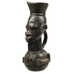 Kuba Large Figural Tribal African Palm Wine Cup, Congo, Africa