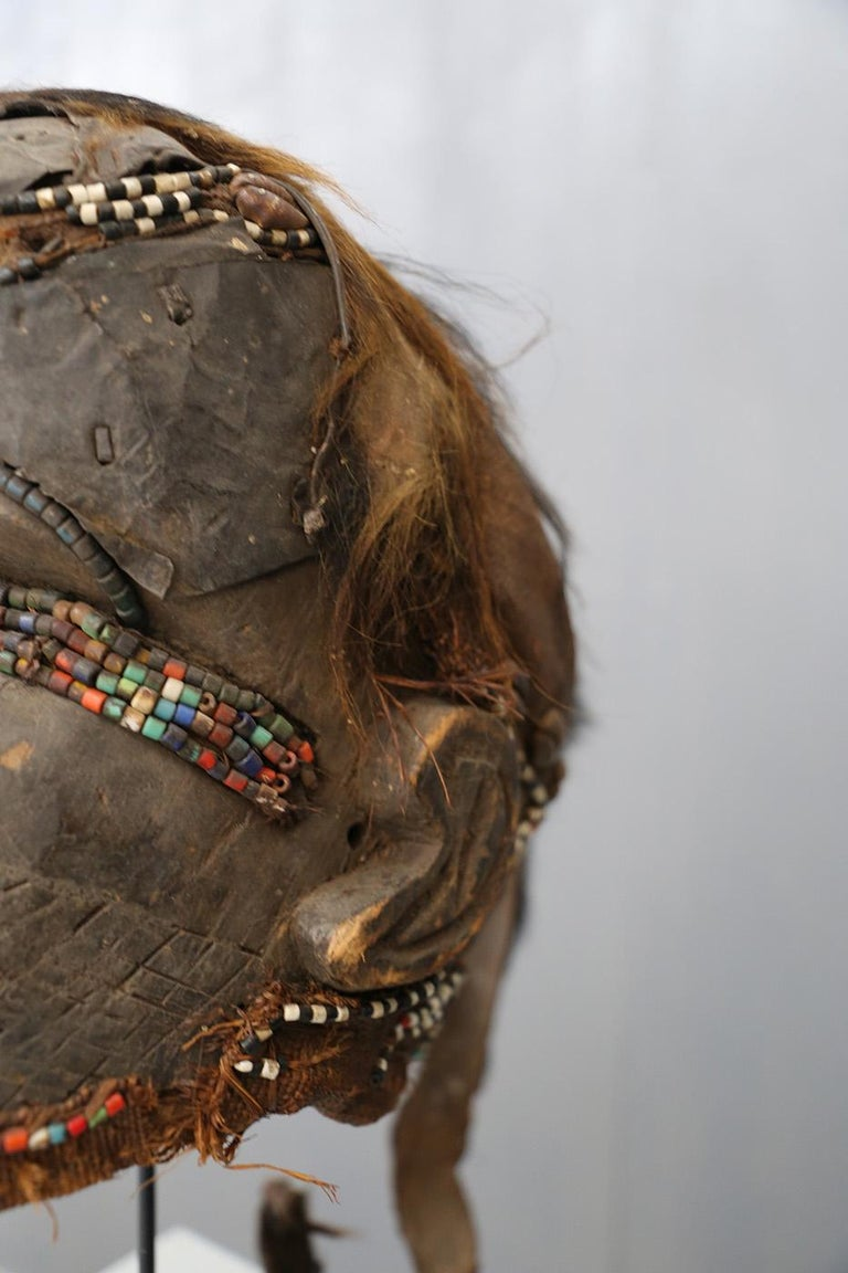 The African Kuba Bwoom tribal mask is the oldest known mask, the Kuba bwoom mask. The materials used for the realization of the Mask are: Wood, colors and vibrates plants, caures, beads, animal hair. In dance it expresses exuberance and joy. The