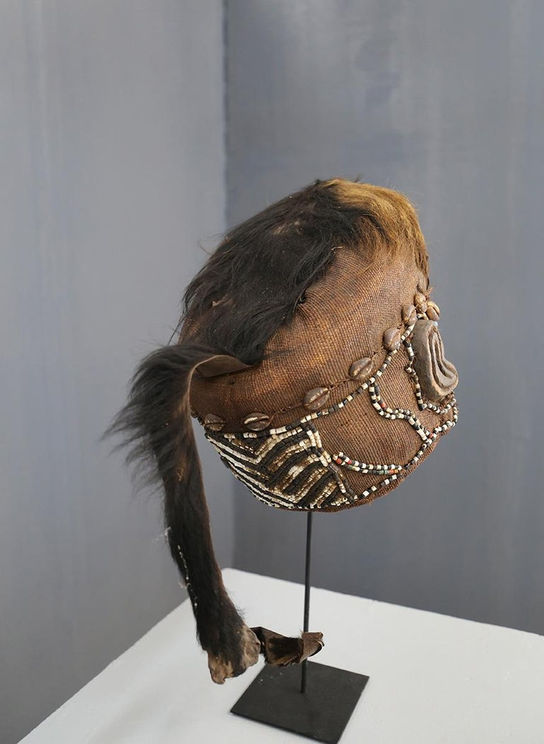 Congolese Kuba Mask African Bwoom Tribal Congo in Wood, Vibrates Vegetables, Animal Hair For Sale