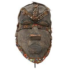Kuba Mask African Bwoom Tribal Congo in Wood, Vibrates Vegetables, Animal Hair