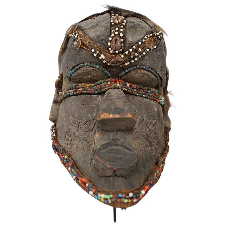 Kuba Mask African Bwoom Tribal Congo in Wood, Vibrates Vegetables, Animal Hair For Sale
