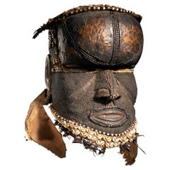 Kuba People, DRC, Very Strong Bwoon Mask with Copper Alloy Finish