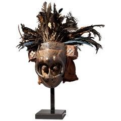 Kuba People, DRC Male Mask-Feathered Headdress 'Ishyeen Imaalu'