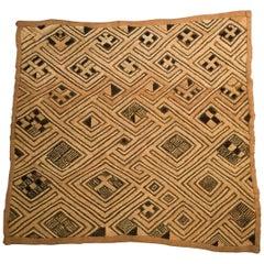"Kuba, Shoowa African Tribal Art Textile with ""Op Art"" Design"
