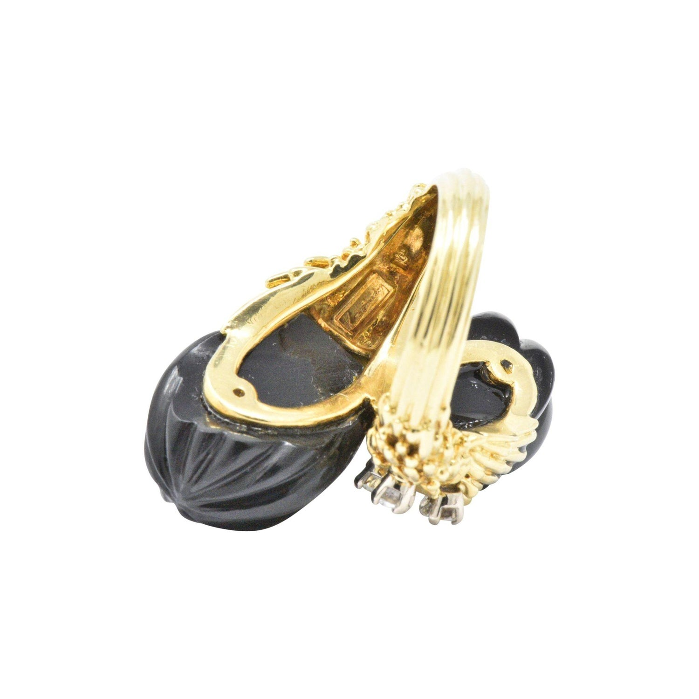 2b71e5937573e2 Kuchinsky 0.60 Carat Diamond Onyx and 18 Karat Gold Ring, circa 1970s For  Sale at 1stdibs