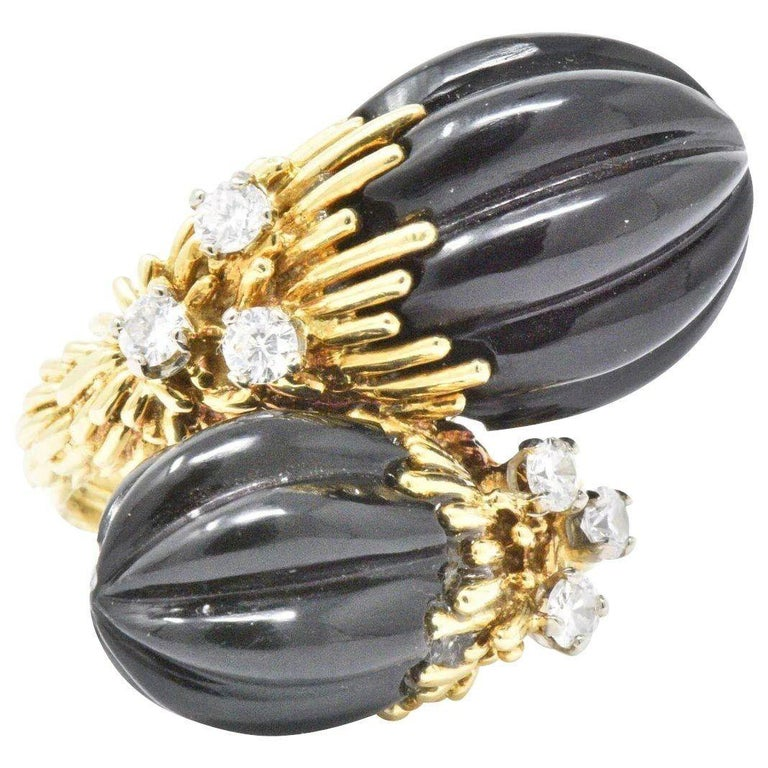 50bc96f03672fb Kuchinsky 0.60 Carat Diamond Onyx and 18 Karat Gold Ring, circa 1970s For  Sale