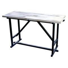 Kudra Centre Table with Distressed Top and Enameled Base