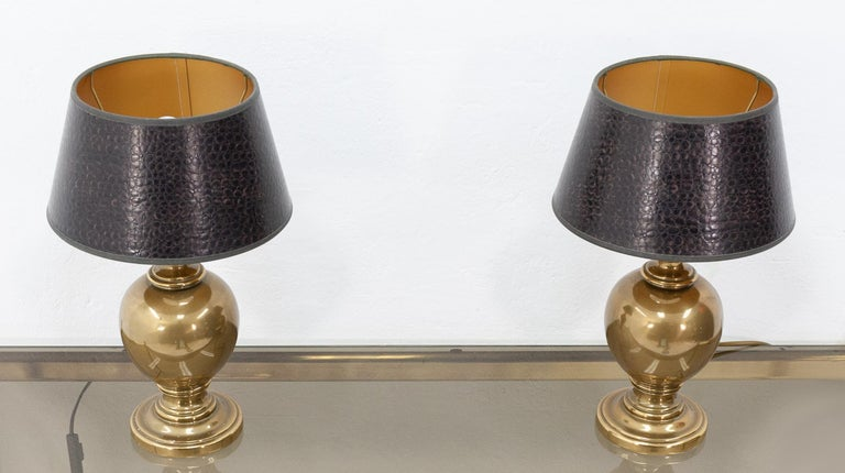 Brass Kuhlmann Table Lamps Germany, 1970s For Sale