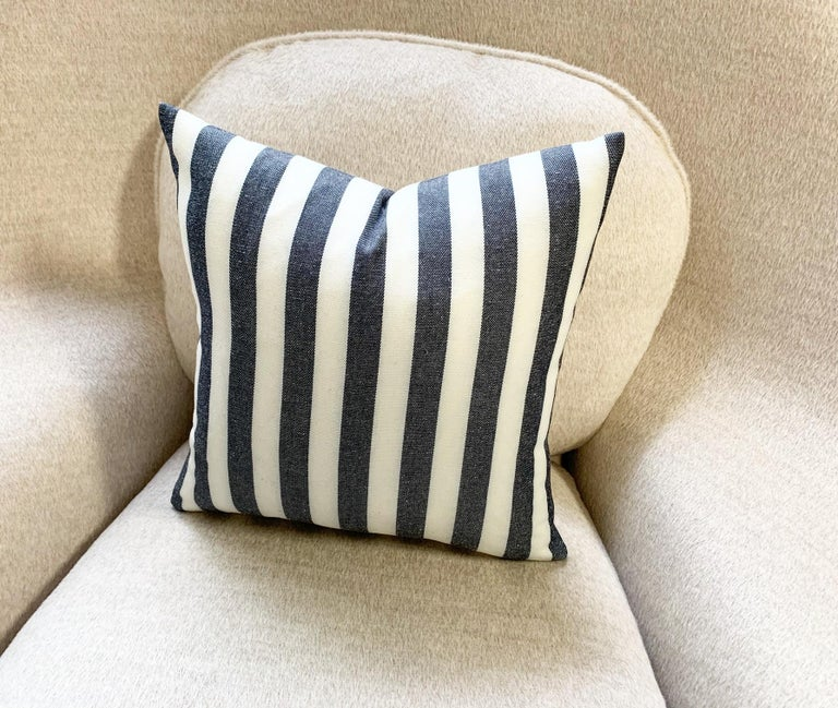 Kule's incredibly chic stripe fabric was used to make this beautiful pillow crafted in our Saint Louis studio. Down feather insert included. Measures: 14