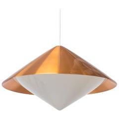 """Kuli"" Copper Ceiling Lamp by Svea Winkler for Orno, Finland, 1960s"