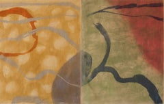 """Catalonian Comrade"", abstract Japanese landscape monoprint, silver, ochre, red."