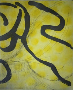 """Leading Cool"", abstract aquatint print, yellow, gray, Asian inflected."