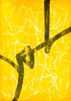 """""""Promise in Indian Yellow"""", abstract calligraphic aquatint and etching print."""