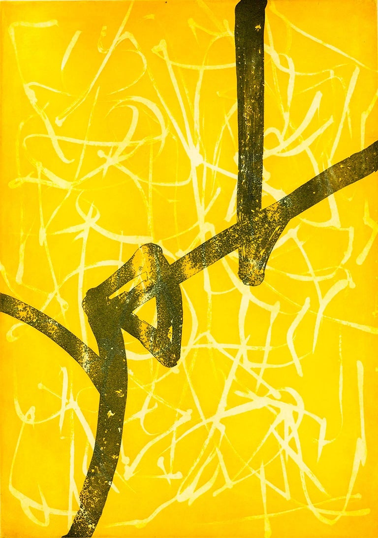 "Kumi Korf Abstract Print - ""Promise in Indian Yellow"", abstract calligraphic aquatint and etching print."