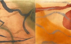 """Skin Of Water, Variation One"", abstract landscape aquatint print, red, yellow ."