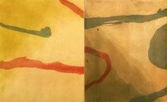 """Summer Gray Rock"", abstract landscape aquatint print, red, yellow, green, ."