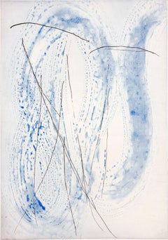 """Sussuro Whisper"", ultramarine blue, black, abstract spit bite aquatint print,"