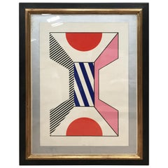 "Kumi Sugai Signed ""Geometric Forms"" Gouache on Paper, France, 1960s"