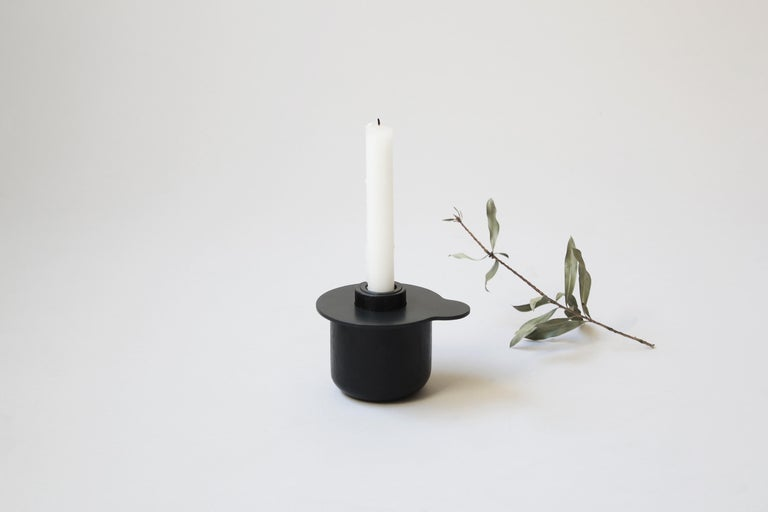 Scandinavian Modern Kumo Candle Holder in white oak and 3mm black coated steel  For Sale