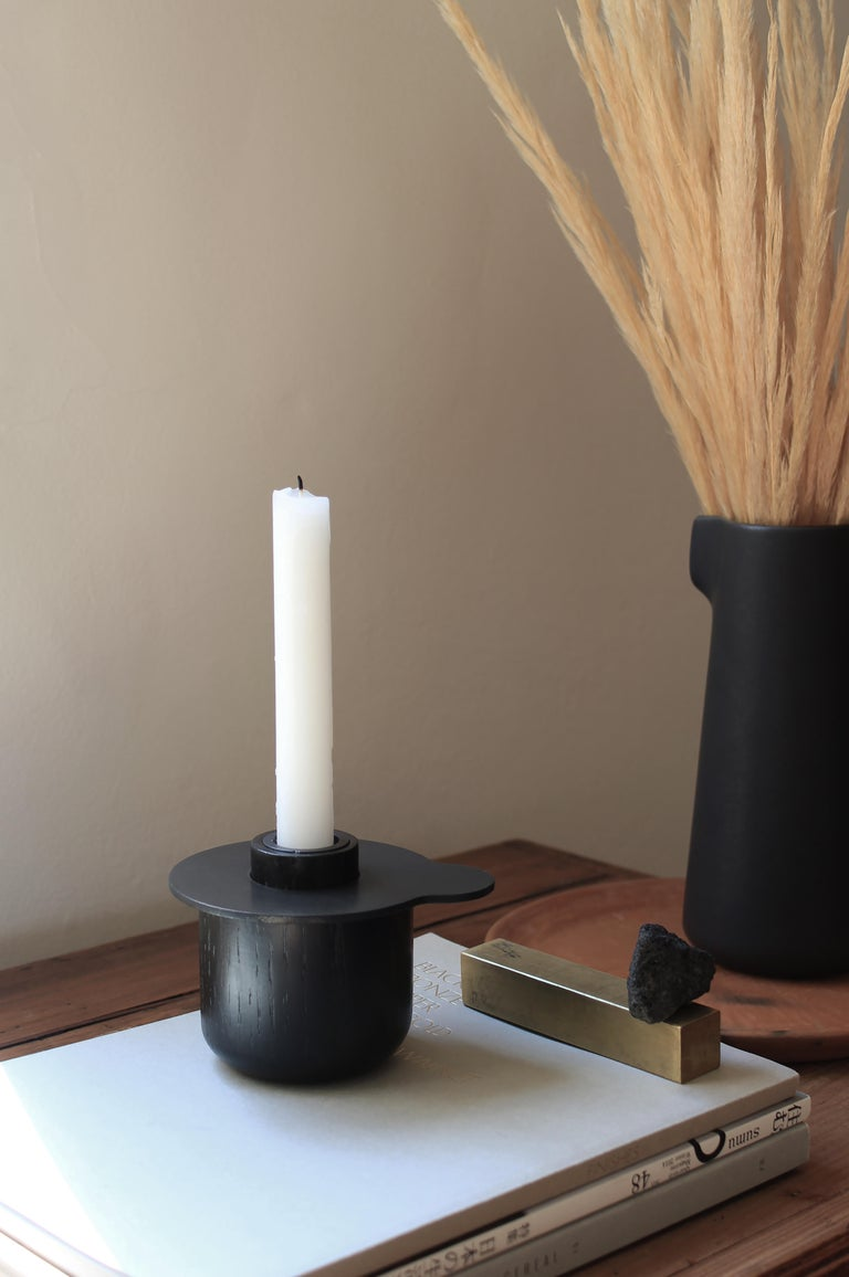 Mexican Kumo Candle Holder in white oak and 3mm black coated steel  For Sale