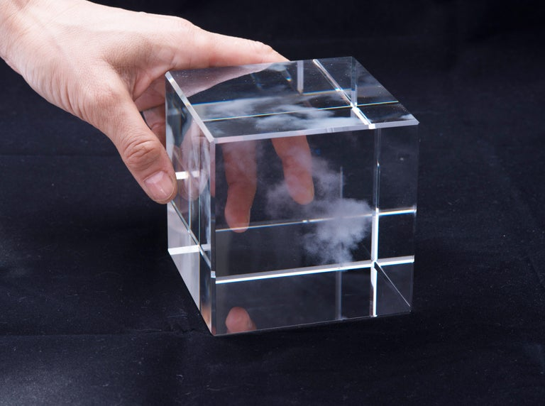 Miya ando. Kumo (Cloud) for The Glass House (Shizen) Nature Series, 2016. Glass measures: 4 in. x 4 in. x 4 in. Edition of 15, 3 A/P's. Signed by artist.   Shizen (Nature) Kumo (Cloud) for Glass House:   The Kumo (Cloud) cube is a sculpture