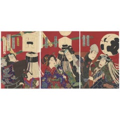 Kunichika Toyohara, Kabuki Actors, Firemen, Original Japanese Woodblock Print
