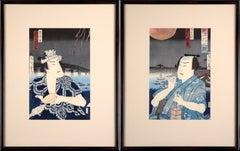 Kabuki Actor Diptych - Japanese Woodblock