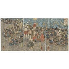 Kuniyoshi, Sengoku, Original Japanese Woodblock Print, River, Horse, Samurai Art