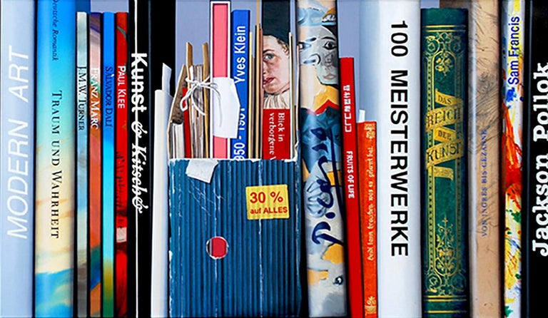Artist: Kuno Vollet Hyperrealistic painting of a series of books
