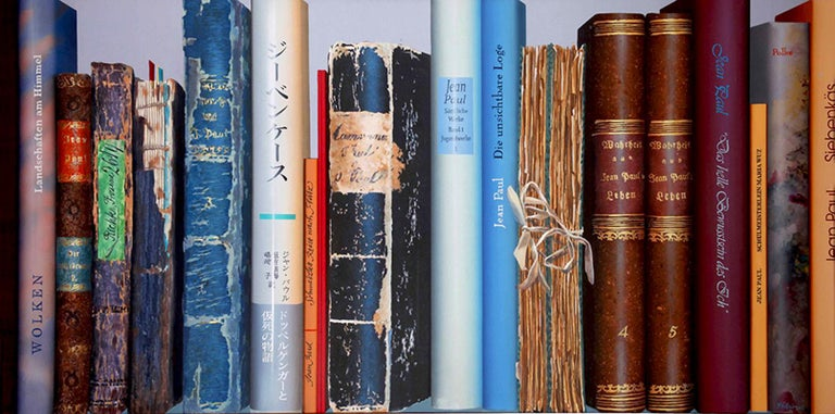 Artist: Kuno Vollet  Hyperrealistic painting of a series of books  About the Gallery: Folly & Muse was established in 2015 in London to find and collaborate with the most creative, talented, emerging and mid-career artists from all around the world.