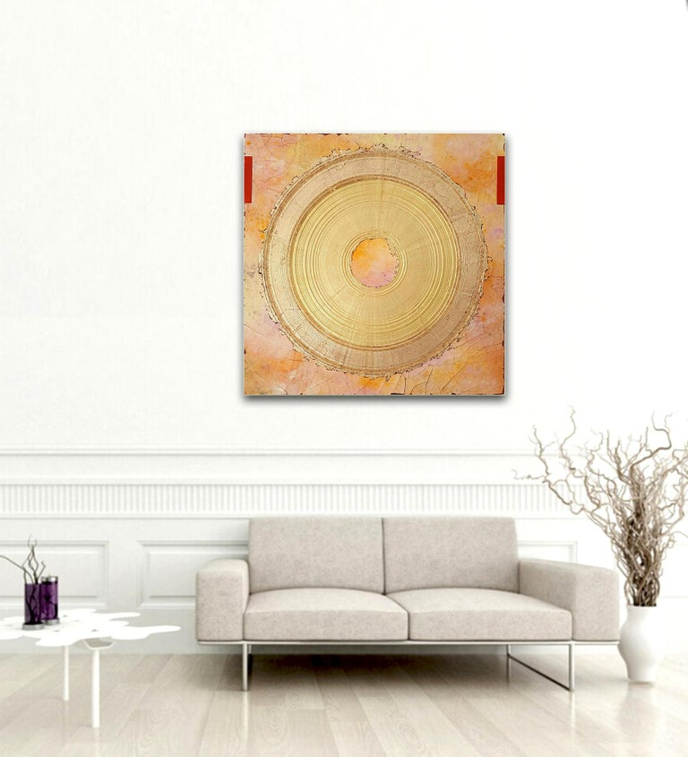 Creatio Continua by Kuno Vollet Abstract Textured Gold Leaf Painting For Sale 1