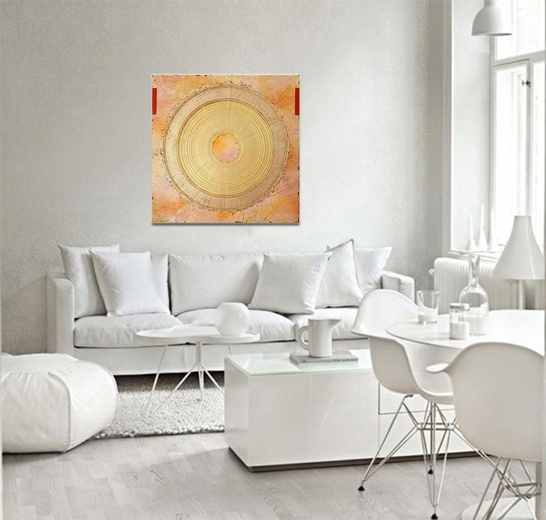 Creatio Continua by Kuno Vollet Abstract Textured Gold Leaf Painting For Sale 2