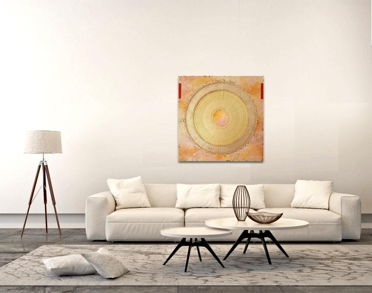 Creatio Continua by Kuno Vollet Abstract Textured Gold Leaf Painting For Sale 3