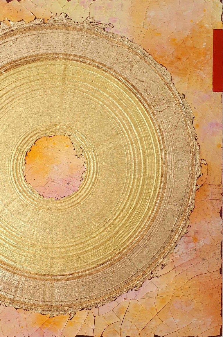 Creatio Continua by Kuno Vollet Abstract Textured Gold Leaf Painting For Sale 4