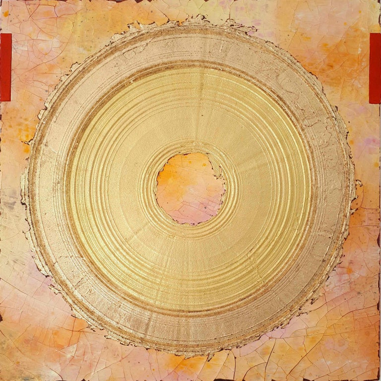 Creatio Continua by Kuno Vollet Abstract Textured Gold Leaf Painting For Sale 5