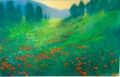 German Contemporary Pastel Painting Radiant Landscape Field with Flowers Poppies